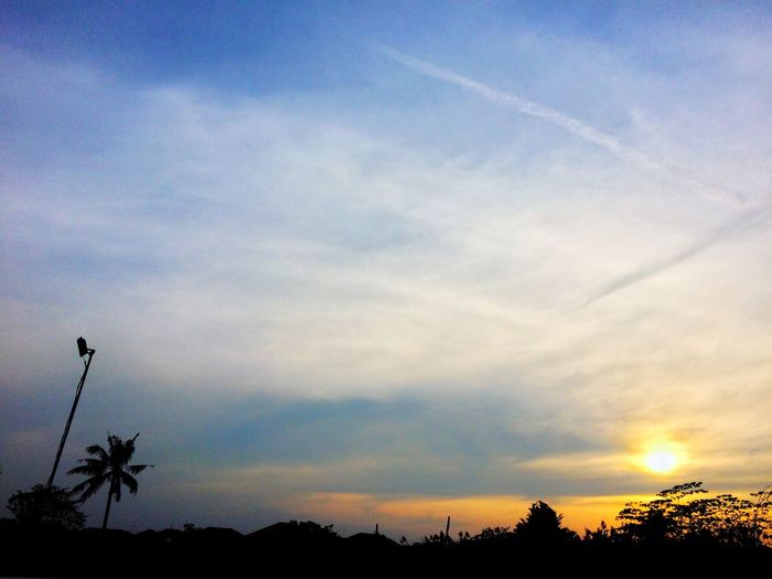 sunset in village Ground Twilight Evening Sillhuette Plant Garden Cloud And Sky Cloud Blue Sky Bluesky Sky Villa Village Sunset Sky Sunset Scenics Tree Nature No People Cloud - Sky Outdoors Palm Tree Day An Eye For Travel