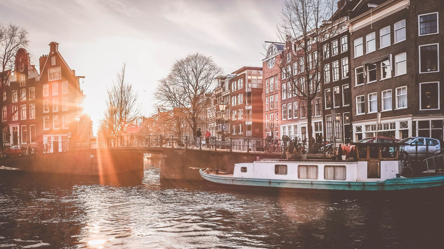 Architecture Boat Canal City Reflection River Sky Sun Sunlight Sunset Water Urban Spring Fever Springtime Your Amsterdam Jordaan