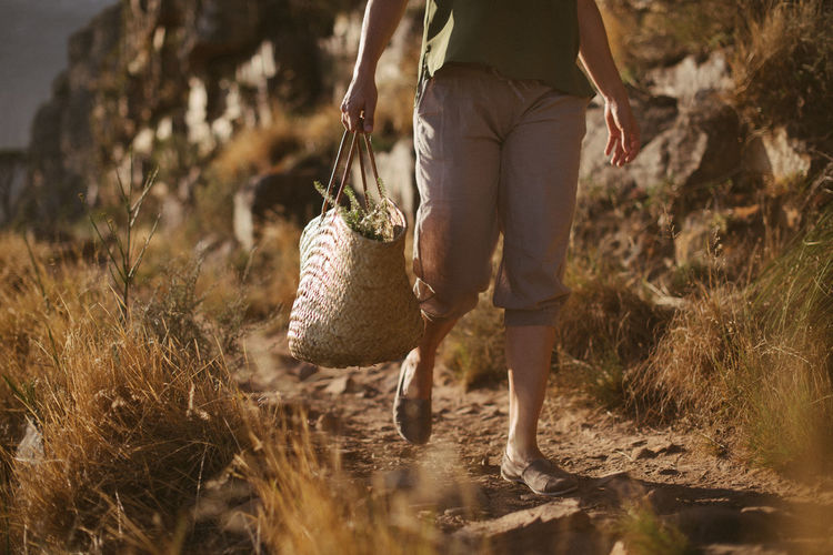 Low section of woman with bag walking on land