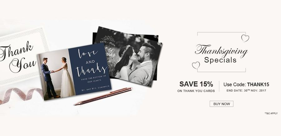 On this Thanksgiving send thank you card to your special ones from A2zWeddingCards. Save 15% off on Thank you Wedding Cards. Use Code: THANK15. Select your Thank you notes here @ https://www.a2zweddingcards.com/thank-you-cards Thank You Wedding Cards Thanksgiving Special Sale Wedding Thank You Cards Printable Thankyou Cards Thank You Cards Offer Thank You Invitations Offers Thank You Card