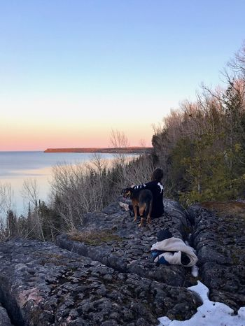 Sitting on the Escarpment with Dog Adventure Hike Hieghts Rock CliffEdge Bay Of Water Escarpment Sky Mammal Domestic Animals Domestic Pets Animal Themes EyeEmNewHere Dog Canine Beauty In Nature Animal Water Sunset Clear Sky Nature