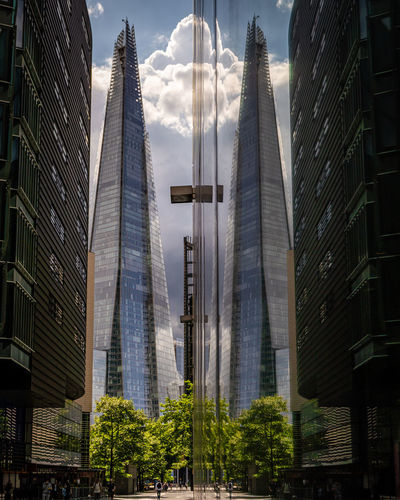 Low angle view of modern buildings in city