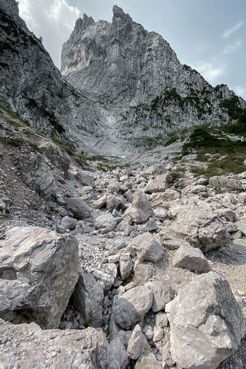 Rocks on the paths to stripsenjochhaus at the wilder kaiser, tyrol austria