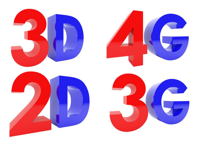 3D Rendering of 3D, 2D, 4G, 3G text isolated on white background, clipping path inside 2d 3D 3g 4g Isolated Alphabet Blue Communication No People Red Text Texts  White Background