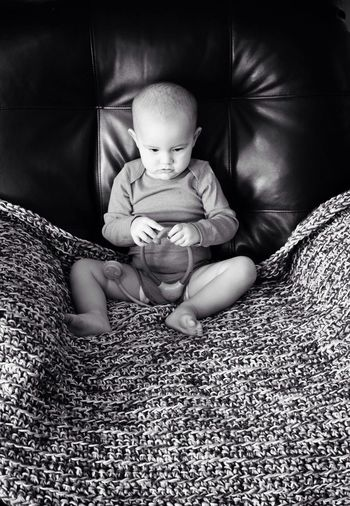 Deep in thought... Black And White Monochrome Baby Hanging Out