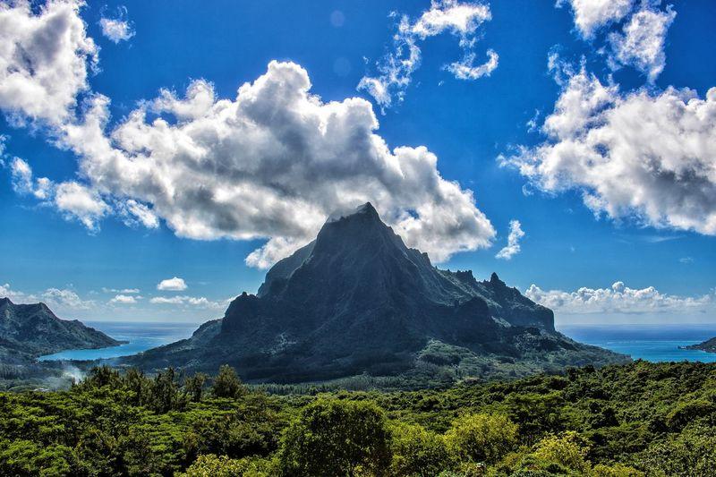 FrenchPolynesia Lagoon Tahiti Paradise Nature Island Belvedere Mountain Blue Sky Cloud - Sky Countryside