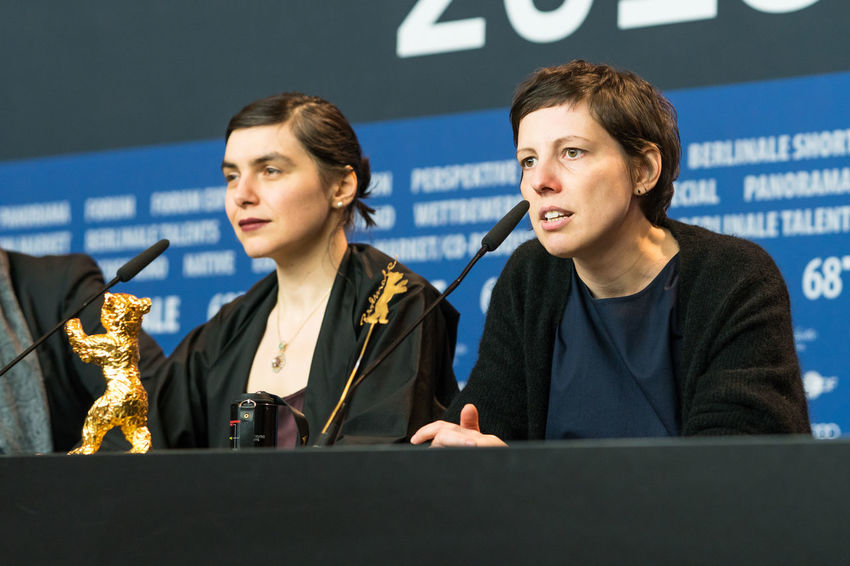 Berlin, Germany - February 24, 2018: Director Adina Pintilie, Golden Bear Award for Best Film 'Touch Me Not', and producer Bianca Oana at the Award Winners press conference during the 68th Berlinale AWARD Closing Ceremony Film Festival Golden Bear Interview Adina Pintilie Arts Culture And Entertainment Berlinale Berlinale 2018 Berlinale Festival Berlinale2018 Best Film Bianca Oana Director Entertainment Entertainment Event Film Director Golden Bear Award Mass Media People Press Conference Touchmenot Two People Winner Young Women
