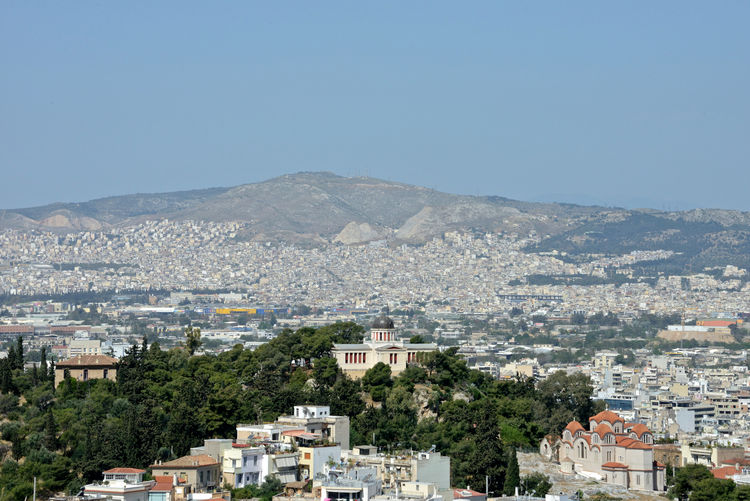 panoramic view of Athens town seen from the Acropolis Building Exterior Architecture City Built Structure Cityscape Mountain No People Building Residential District Nature Day Clear Sky Tree Sky Copy Space High Angle View Outdoors TOWNSCAPE Apartment Athens, Greece Panoramic View Cityscape Tourism Destination Urban Skyline Urban Landscape