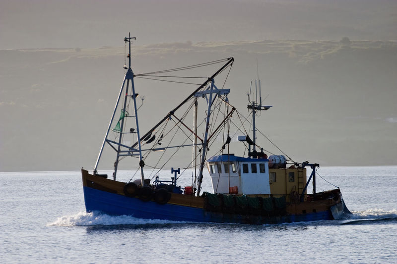 Fishing boat in the bay at down
