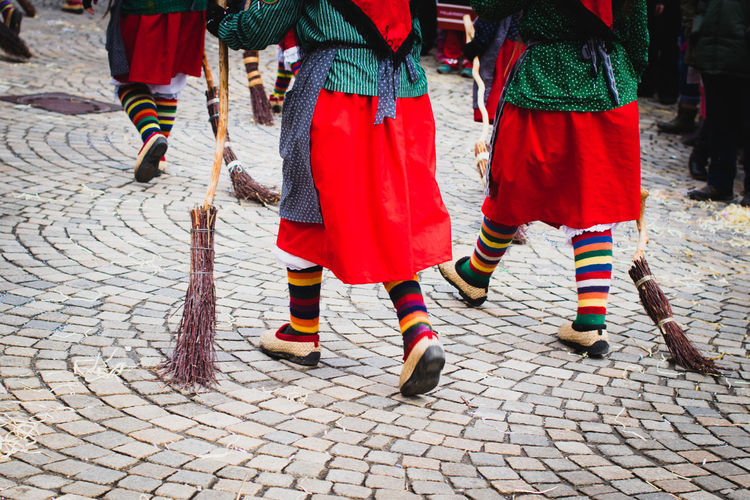 Carnival Tradition Cobblestone Culture Day Germany Human Leg Lifestyles Low Section Outdoors Parade People Real People Red Street Streetphotography Togetherness Walking Witches