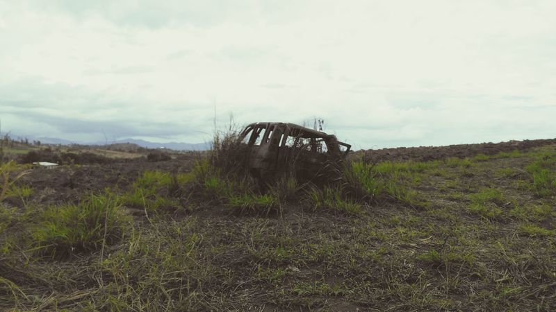Abandoned Car Landscape Rusted Car Nature Wins Old Rusty Car Dead Land No People Outdoors Cloud - Sky