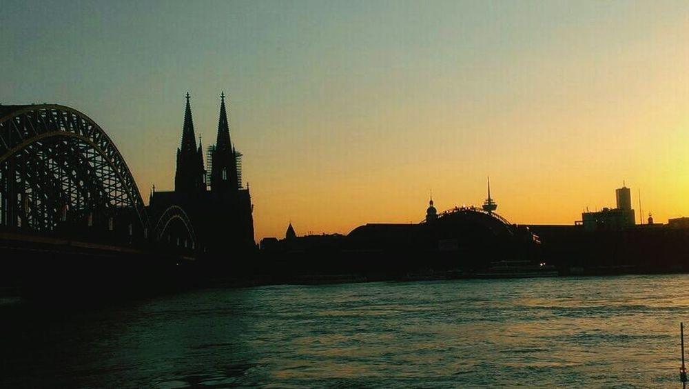 Cologne , Köln,  Sun Going Down Clock Tower