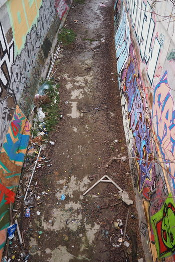 Alley Canals And Waterways Creativity Dirty Graffiti Ground Mud Mudy Multi Colored Water Path