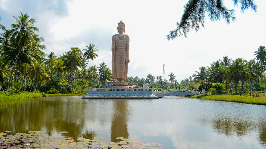 Large Buddha Statue With Lake In Foreground