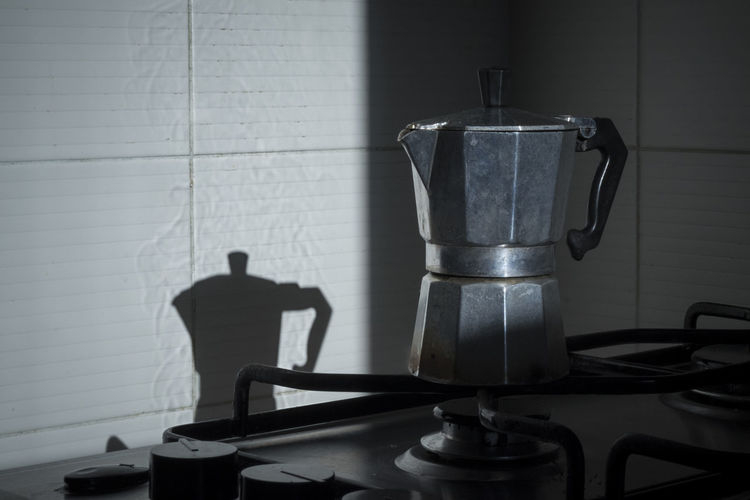 Moka pot in kitchen