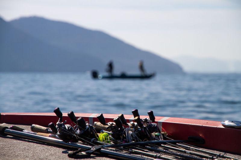 Fishing equipment on bass boat