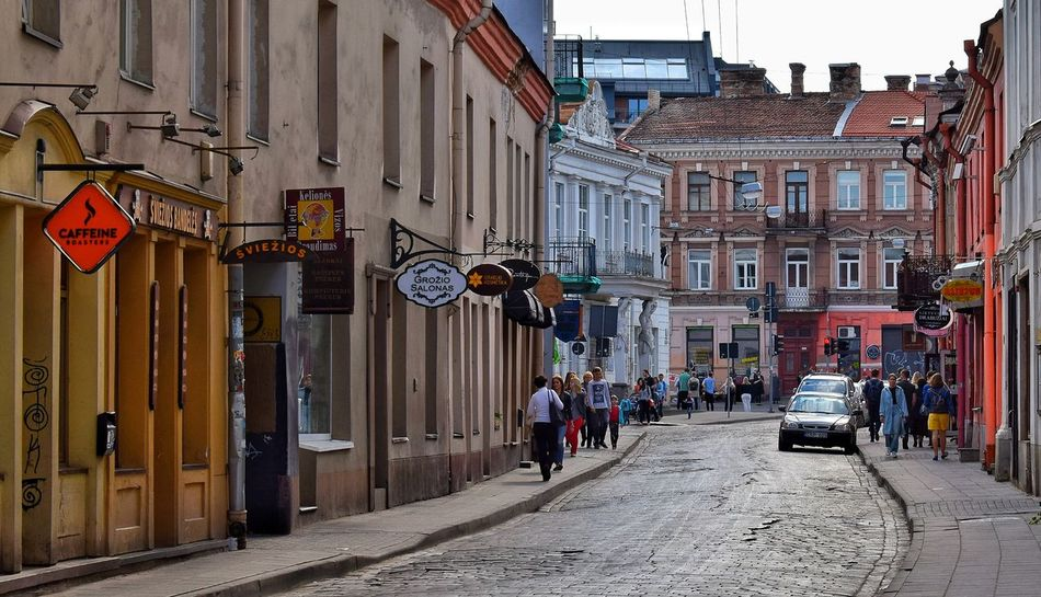People Travel Destinations Summer Building Exterior Architecture City Street Sky Walking Day Urban Skyline Travel Lifestyles Sun Vilnius, Road