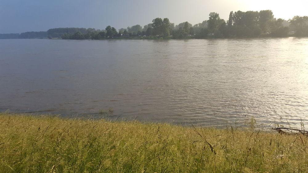 Gewitterstimmung Rhein Düsseldorf Am Rhein Benrath Rheinwiesen Frühsommer
