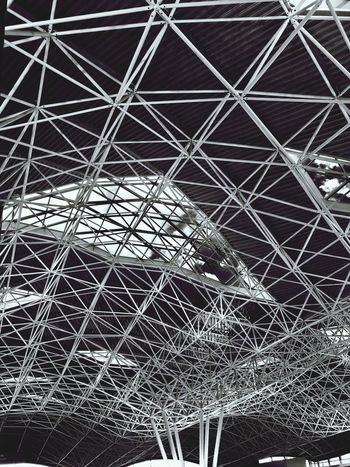 Black And White Architecture Pattern Full Frame No People Backgrounds Metal Day Abstract Built Structure Ceiling Grid Architecture