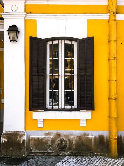 Window, Macao, China, yellow, architecture Window, Macao, China, Yellow, Architecture Built Structure Window Architecture Building Exterior Building Yellow Day Residential District Outdoors Wall House No People