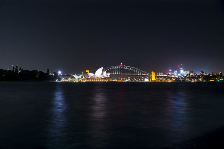 Night scene at Sydney Harbour. Night Architecture Built Structure Illuminated Building Exterior Water City Sky Travel Destinations Waterfront Connection No People Bridge - Man Made Structure Nature Bridge Reflection Transportation Building Outdoors Cityscape Office Building Exterior Skyscraper