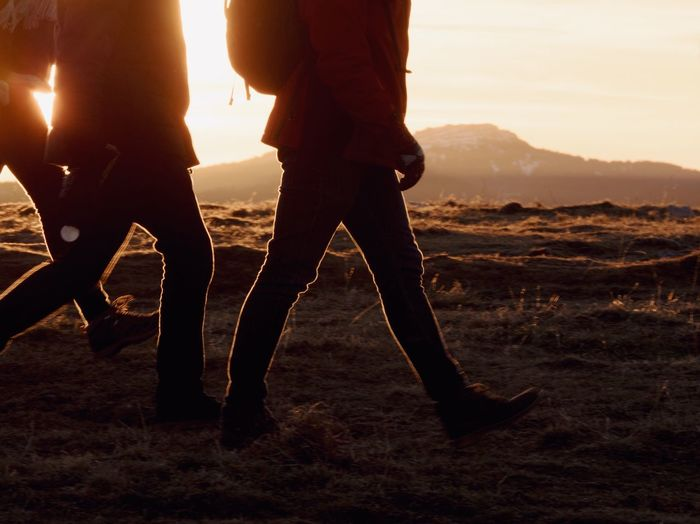 Sunset Hiking Wanderlust Sky Human Leg Low Section Real People Nature Sunset Lifestyles Togetherness Adult Friendship Body Part Leisure Activity Mountain People Land Human Limb