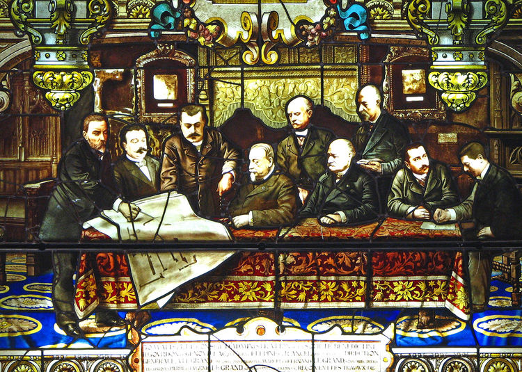 One of the stained glass windows in the Benedictine monastery - Fécamp, France Benedictine Liquer Benedictine Monastery Architecture Businessman At Table City Day Fecamp History Indoors  No People Stained Glass Windows Travel Destinations Board Of Directors Looking At Plans