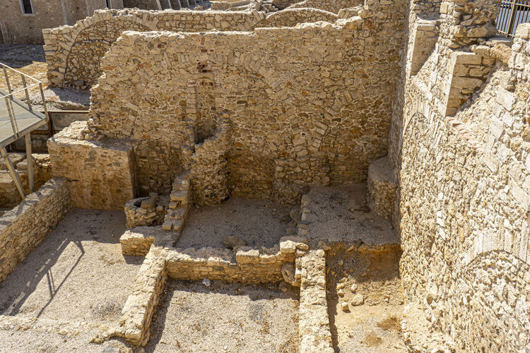 Close-up of old ruin construction site