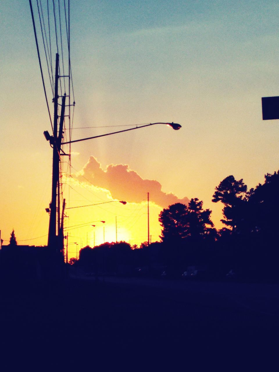 sunset, silhouette, sky, cable, nature, tree, outdoors, technology, no people, electricity pylon, beauty in nature, day
