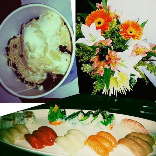Three ways to keep me happy!!! Freshflowers Frozenyogurt Sushiboat Sashimiboat healthyoptions portioncontrol alwaysleaveroomfordessert froyo ilovemylife TGIF