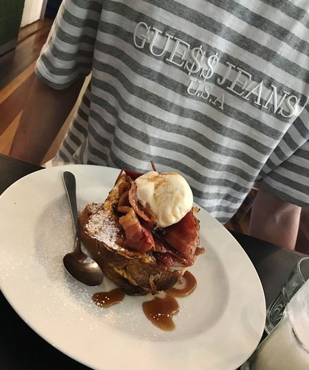 Breakfast 🥓 French Toasts Breakfast ASAP ROCKY Hypebeast  Guess Jeans  Food And Drink Food Plate Sweet Food Ice Cream Ready-to-eat Indoors  Close-up EyeEmNewHere