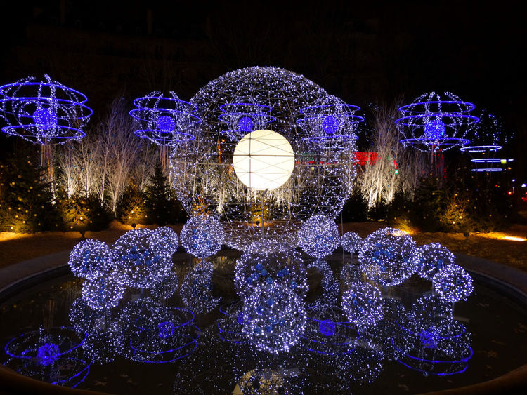 Christmas Lights in Paris Illuminated Night Decoration Lighting Equipment Celebration Christmas No People Snow Christmas Decoration Nature Glowing Light Tree Winter Christmas Lights Holiday Plant Cold Temperature Electric Light Celebration Event Purple Paris Christmas Lights Champs Elysees
