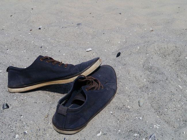 Summer beach Summer Beach Beach Sand Shoe Pair High Angle View Close-up Things That Go Together Menswear Footwear
