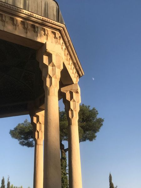 Low Angle View Architectural Column Tree History Architecture Built Structure Travel Destinations Outdoors Ancient Day Old Ruin Clear Sky Blue Travel No People Ancient Civilization Sky Nature Moon On The Blue Sky