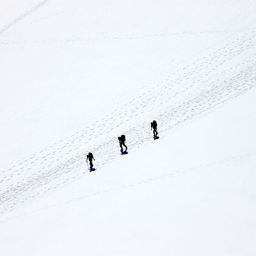 Silhouette People Walking On Snow Covered Landscape