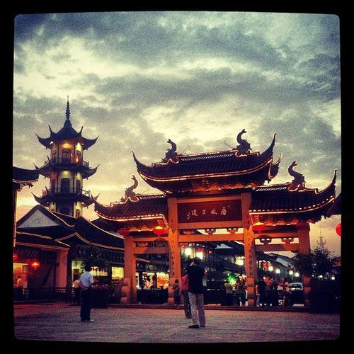 China Kunshan Zhouzhuang Jiangsu AncientCity Watercity Sky Dusk