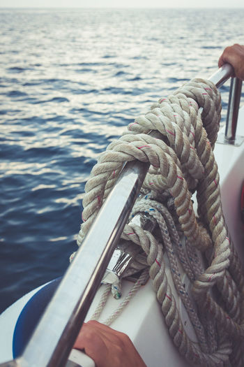 Close-up Hand Holding Human Hand Leisure Activity Nautical Vessel Outdoors Rope Sea Summer Water It's About The Journey