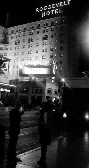 QVHoughPhoto Hollywood Losangeles HollywoodBoulevard Jeandujardin Theartist Hotelroosevelt Roosevelthotel Blackandwhite