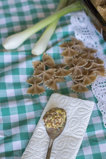 Ingredients Picnic Seeds Table Setting Butterfly Close-up Food Food And Drink Indoors  Mustard No People Pasta Ready To Cook Spring Onion Tablecloth Uncooked Uncooked Pasta Wholegrain