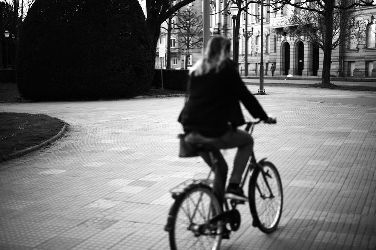 B&w Bicycle Black & White Dusk France Movement N&b Noir & Blanc  Public Garden Strasbourg Street Street Photography Streetphotography Woman Young