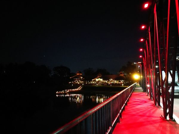 color light on the bridge Chiang Mai | Thailand Color Light Night Illuminated Red Bridge - Man Made Structure Outdoors No People City Colour Your Horizn