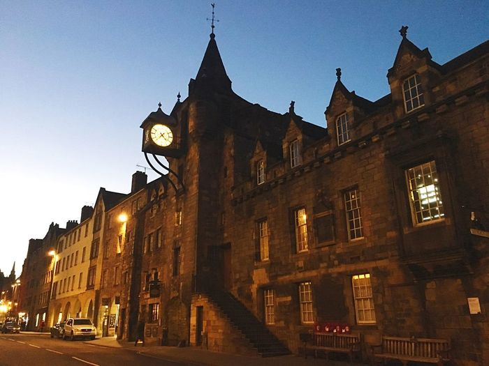 Architecture Building Exterior Built Structure Outdoors Travel Destinations History Low Angle View No People Clock Sky City Night Clear Sky Clock Face Scotland 💕 Edimburgo