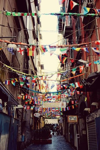 Quartieri Spagnoli Naples Napoli Street Multi Colored Hanging Outdoors No People Flags International Flags Decorated Street Sony A6000 Small Street Italian Cities Travel Destinations Celebration