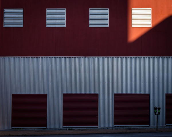 Alloy Architecture Building Building Exterior Built Structure City Closed Corrugated Day Door Entrance Iron Light And Shadow Metal Minimalism No People Outdoors Pattern Red Shutter Silver Colored Steel Wall - Building Feature The Architect - 2018 EyeEm Awards #urbanana: The Urban Playground