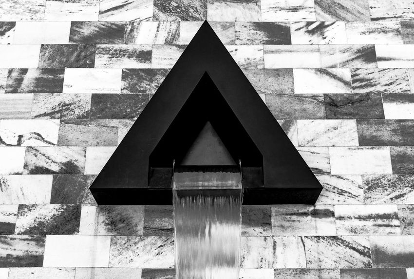 Abstract Architecture Blachandwhitephotography Built Structure Close-up Day Fontain No People Outdoors Triangle Shape Water