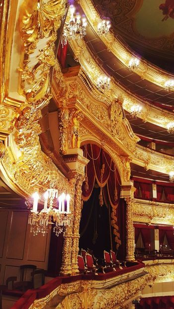 Indoors  Gold Colored No People Illuminated Architecture Luxury Theater Theatre Bolshoi Theatre Bolshoi Theater Concert Hall  Architecture Wealth Gold Light Seats Royal Box Royal Theatre Seats