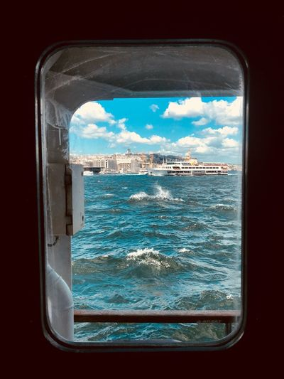 View Through The Window Ferry Window ShotOnIphone Istanbul Turkey Istanbul Sky Window Water Cloud - Sky No People Nature Sea Outdoors Transportation Vehicle Interior Mode Of Transportation Architecture Glass - Material Transparent Travel Land Day Beauty In Nature Glass