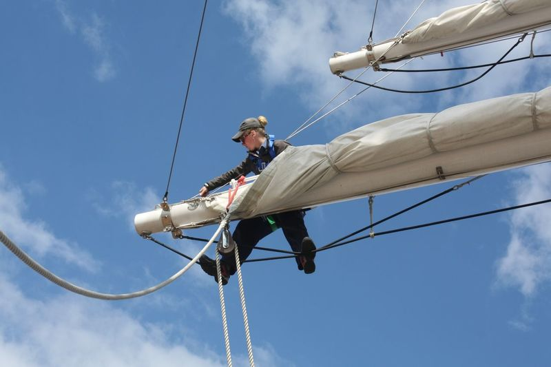 Bosun Charly - checking the rigging of The Royalist River Thames Tall Ships festival