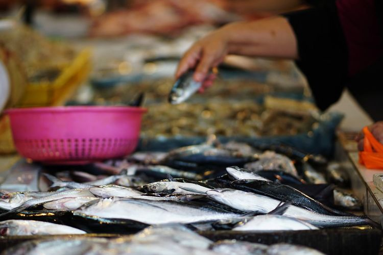Streetphotography Wetmarket Wetmarketscene Fish Basket Hand Market Gourmet Seafood Fish Market Fish Eating Retail  Business Finance And Industry Close-up Food And Drink Farmer Market Catch Of Fish For Sale Shop Retail Display Price Tag Raw Stall Display