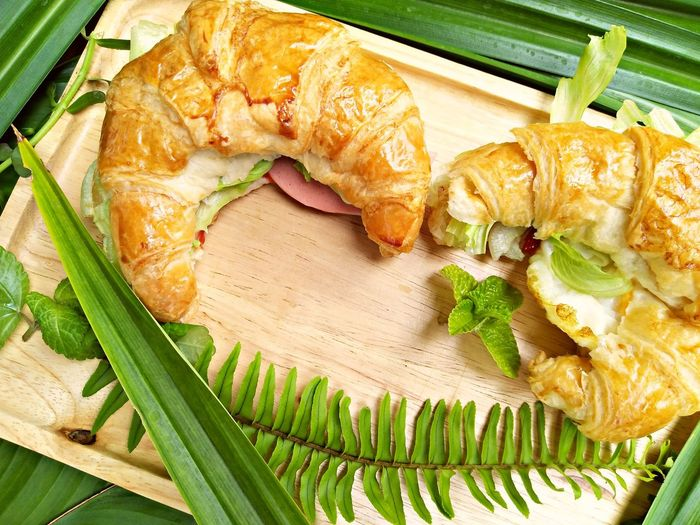 ham cheese croissant Croissant Modern Healthyfood Clean Food Clean Food Healthy Food Vegetable Design Plate Leaf Close-up Food And Drink Cabbage